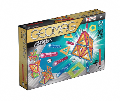 Kids Geomag 533 Glitter Magnetic Construction Set 68-Piece Playset Gift